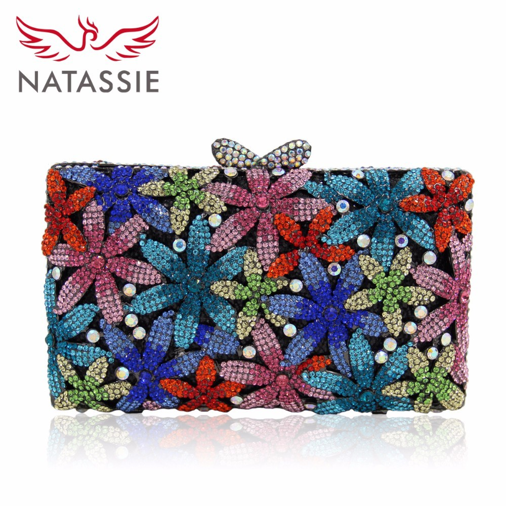 Natassie Floral Designer Handbags Pink Women Clutch Bags Wedding Clutches Female Evening Bag Lady Party Purse With Chain natassie 2017 new women clutch bag evening bags hollow out crystal wedding clutches with chain ladies party purse