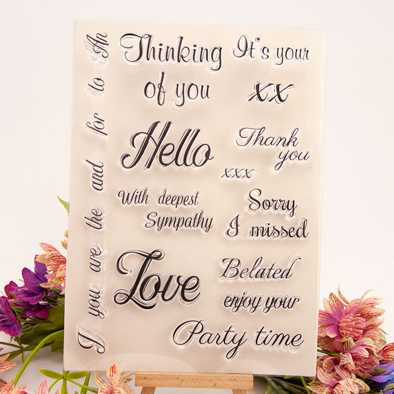 New Letters Sentence Pattern Clear Stamps for Scrapbooking DIY Silicone Seals Photo Album Embossing Folder Paper Template Craft in Stamps from Home Garden