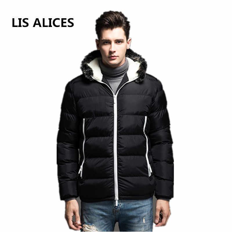2018 新秋冬ジャケットの男性ビッグサイズ新カジュアルスリム綿厚いメンズコートパーカーフード付き暖かい Casaco masculino