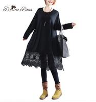 BelineRosa 2017 Black Dresses Women Lace Hollow Out Design Hem Pure Color Basic Clothes Pure Color Plus Size Dresses HS000387