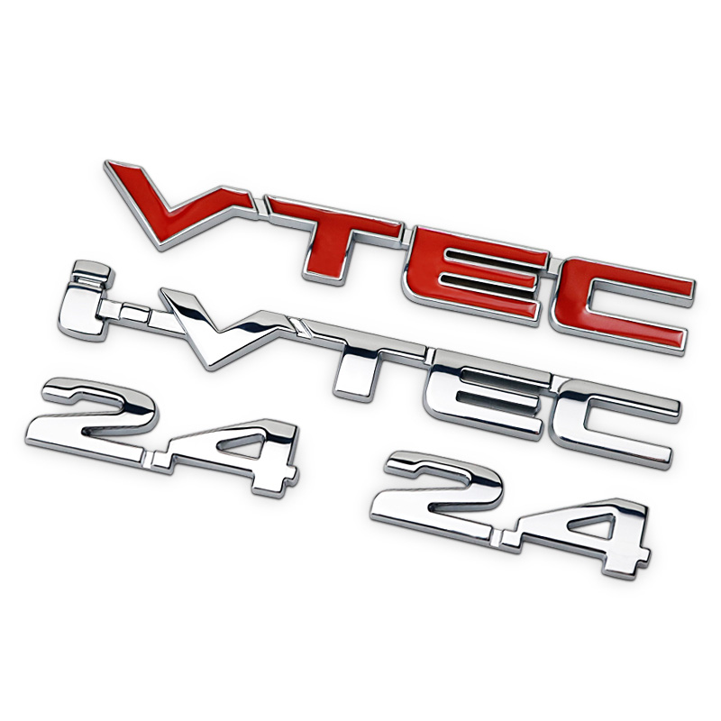 2.4 I-VTEC Red Chrome Letters Numbers Metal Refitting Car Styling Emblem Badge Sticker Fender Trunk for Honda Accord CR-V Civic 760li chrome abs car trunk rear letters badge emblem sticker fit for bmw f01 f02 7 series 760 li trunk car styling accessories