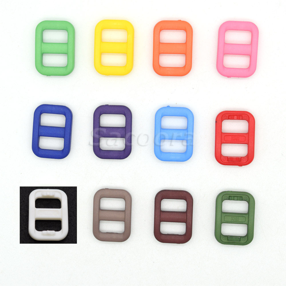 In Style; Impartial 120pcs 3/8 Colorful Plastic Slider Tri-glide Adjust Buckles Backpack Straps Webbing 10.5mm Fashionable