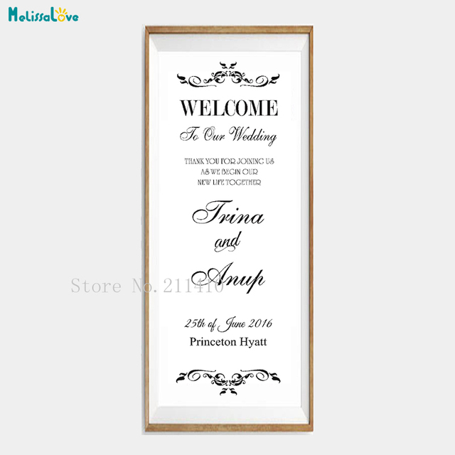 Custom Name And Date Vinyl Wall Sticker Solemn Wedding Welcome Word