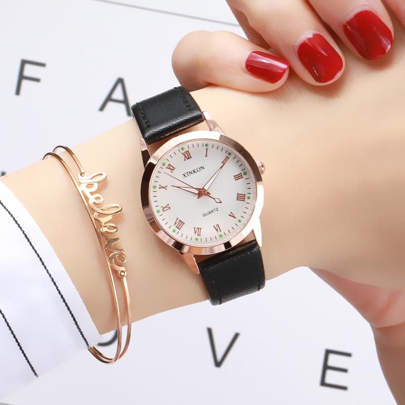 Simple Gold Women Leather Watches Elegant Small Bracelet Female Clock 2019 Fashion Brand Roman Dial Retro