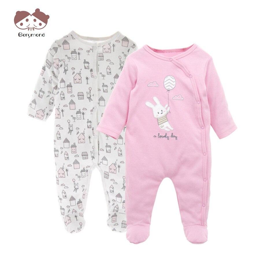 2pcs Lot Infant Pajamas 2017 Newborn Baby Romper Long Sleeve 100 Cotton Brand New Baby Boys