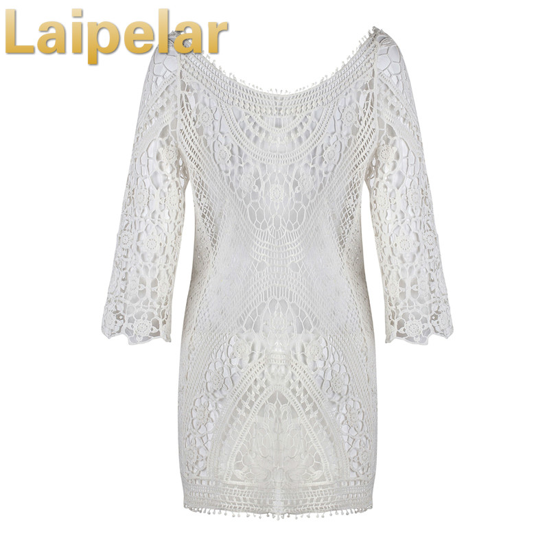 Laipelar 2018 Lace Dress Women Summer Beach Dress Vestido Sexy Backless Dresses Hollow Out Flower White Mini Robe Tunic in Dresses from Women 39 s Clothing