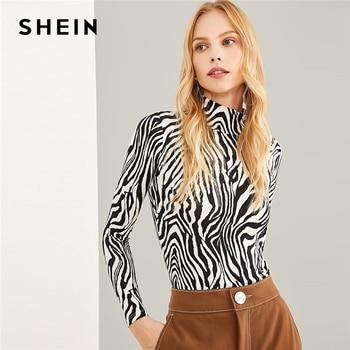 Shein Hitam dan Putih Highstreet Tinggi Leher Zebra Print Pullover Lengan Panjang Tee 2018 Musim Gugur Workwear Wanita T-shirt dan Atasan