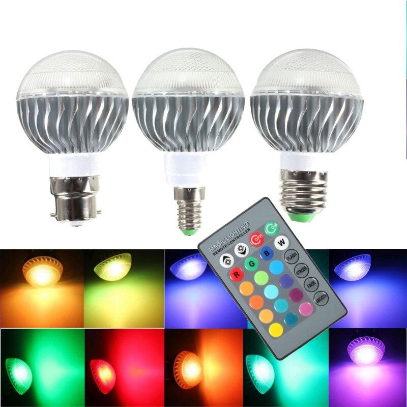 Best Promotion LED Lamp Bulb B22/E27/E14 3W RGB Remote Control 16 Colour Changing LED Light Bulb 85-265V Home Decoration Lights