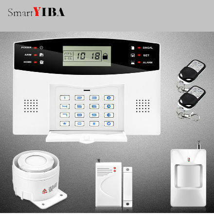 SmartYIBA Wireless House Alarm Security Home GSM Alarm Kit with Door Sensor PIR Sensor Motion Wired Siren for Russian French все цены