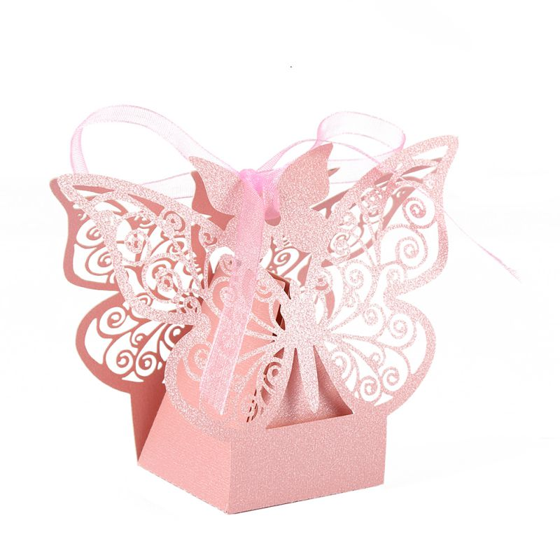 10pcs Wedding Gift Boxes Bags Hollow Butterfly Candy Box For Baptism Birthday First Communion Christening Party Supplies