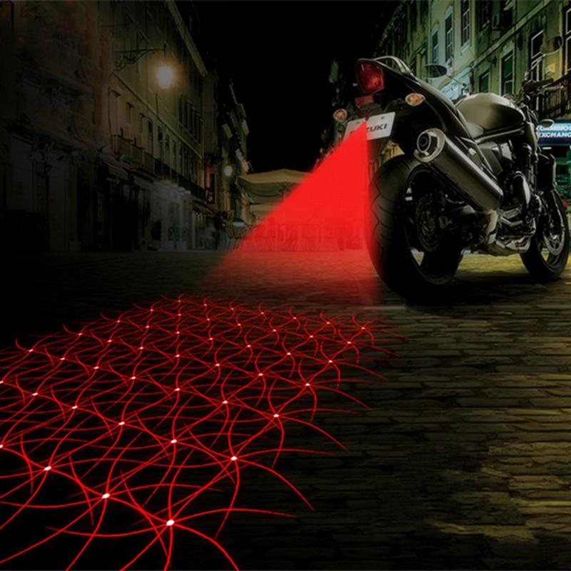 LED Motorcycle Laser Fog Light Anti Collision Tail Auto Brake Parking Lamp Motorbike Warning Lights Motor Styling Accessories