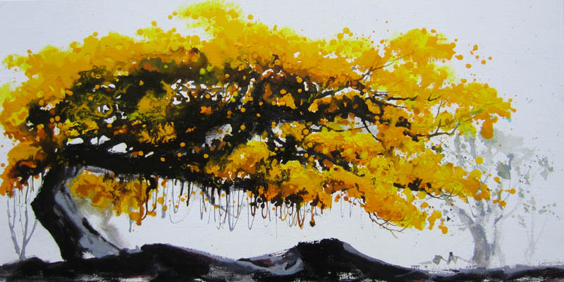 Hand Painted Abstract Oil Painting Yellow Trees China