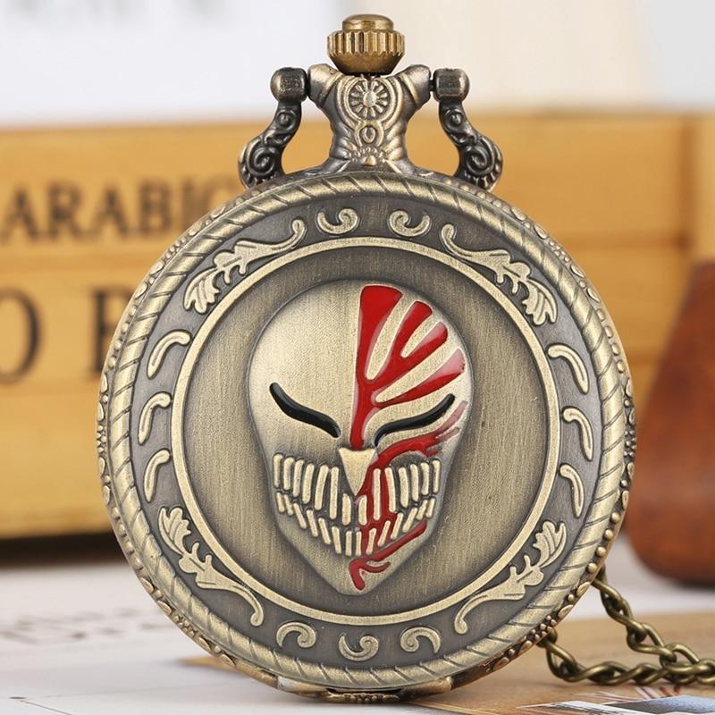 Retro Bronze Skull Clown Mask Quartz Pocket Watch Punk Pendant Men Women Necklace FOB Clock Antique Gifts For Men Women Chain