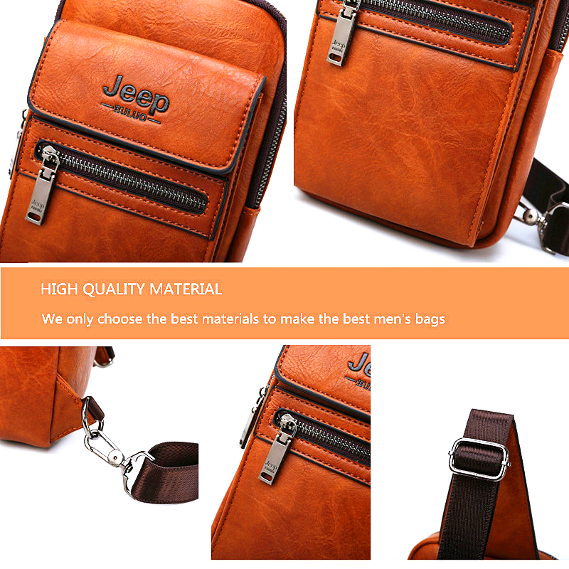 Image 4 - JEEP BULUO High Quality Men Chest Bags Split Leather Large Size Shoulder Crossbody Bag For Young Man Famous Brand Sling Bags-in Waist Packs from Luggage & Bags