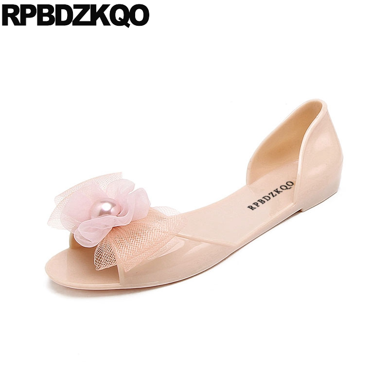 Image 2 - rubber kawaii bow women sandals flat summer 2019 cheap embellished shoes cute jelly pearl soft pink beach slip on black pvcLow Heels   -