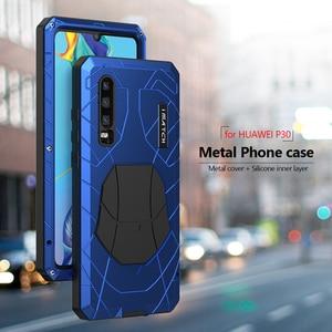 Image 2 - עבור Huawei P30 P30 פרו טלפון מקרה קשה אלומיניום מתכת מזג זכוכית מסך מגן כיסוי עבור Mate10 20 כבד החובה הגנה