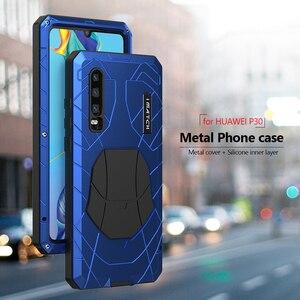 Image 2 - Voor Huawei P30 P30 Pro Telefoon Case Hard Aluminium Metal Gehard Glas Screen Protector Cover Voor Mate10 20 Zware bescherming