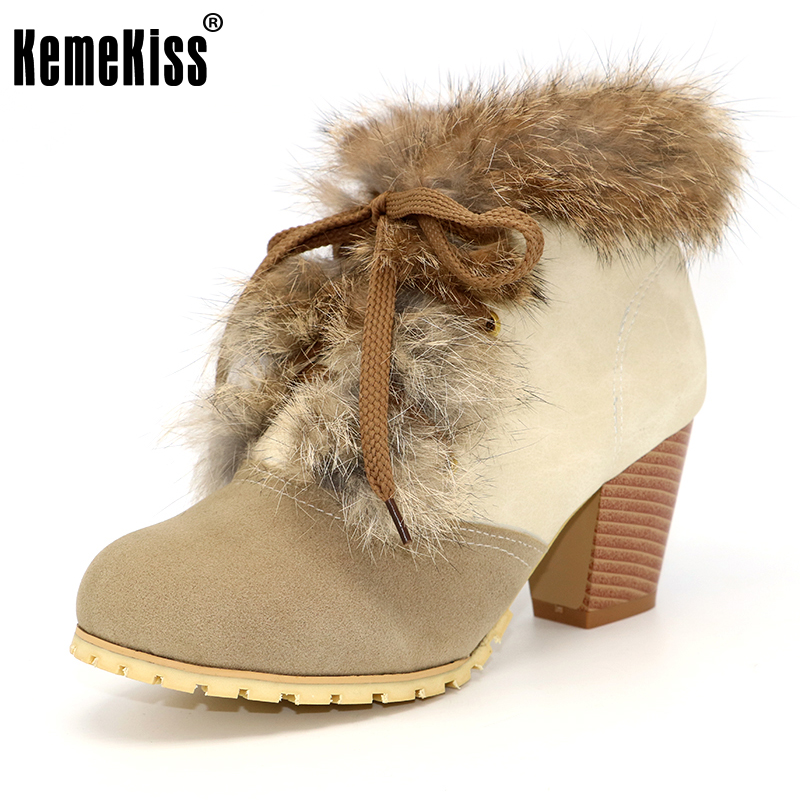 KemeKiss Size 34-45 Women Snow Boots Winter Warm Thick Fur Shoes Vintage Lace Up High Heels Rubber Sole Ankle Boots Shoes Woman