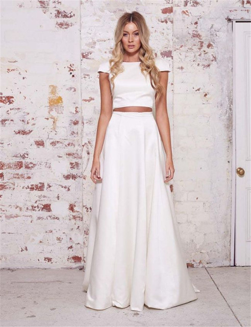 Fashion Two Piece evening Dress Floor Length Satin Christmas prom ...