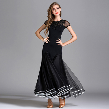 Black Ballroom Dance Competition Dresses For Women Short Sleeve Embroidery Waltz Standard Modern Dance Dress Ladies Wear DC1179