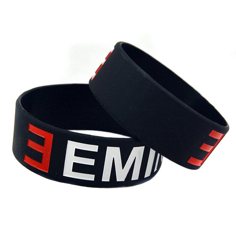 OBH 2PCS ein Zoll breites schwarzes Eminem Silikonkautschuk-Armband - Modeschmuck - Foto 3