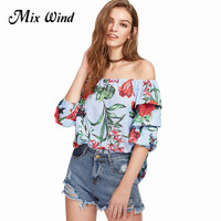 Mix Wind Elegant Fashion Summer Ladies Off Shoulder Bow Slash Neck Lantern Sleeve Blouses Casual Chiffon