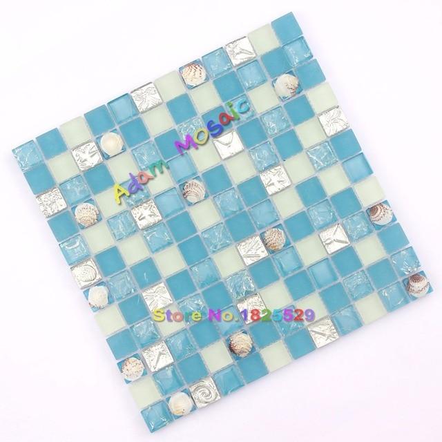 Tile Backsplash Sea Shell Mosaic Tiles Ocean Blue And White Kitchen - Mosaic-tile-backsplash-style