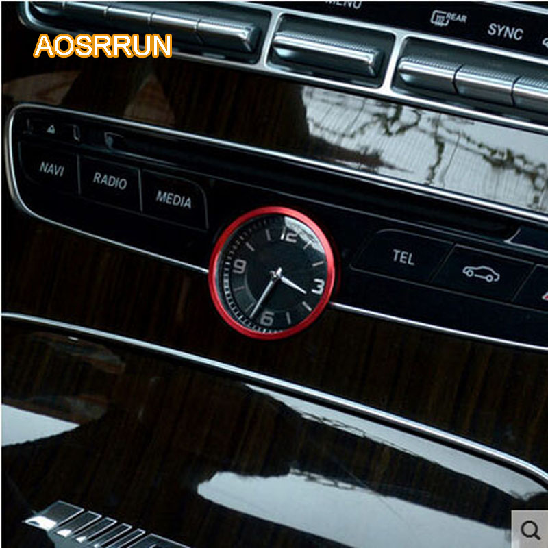 AOSRRUN Stainless Steel Central Clock Decorative Circle Cover Car  Accessories For Mercedes Benz C Class W205 C180 C200 C260L