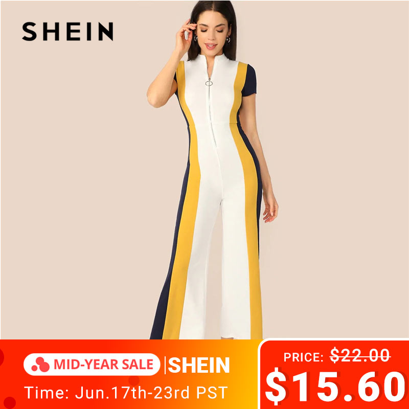 SHEIN Mock Neck Zipper Fly Front Colorblock Wide Leg   Jumpsuit   Spring High Waist Stand Collar Short Sleeve Women   Jumpsuit