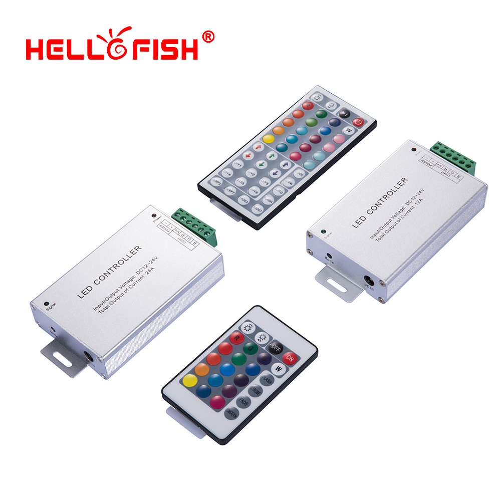 RGB LED strip controller IR 24 44 key remote control 12V 24V 12 24A LED driver Hello Fish