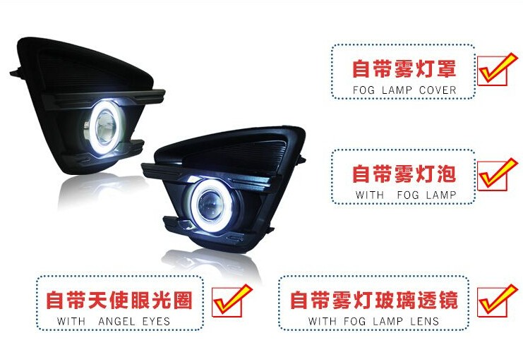 eOsuns COB angel eye led daytime running light DRL + halo Fog lamp + Projector Lens for mazda cx-5 2012 2013 2014 2015 2016