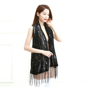 Image 2 - Limit Quantity ! Black Cashew Velvet Women Scarf Winter Evening Party Poncho Soft Burnout Shawl Gift For Lovers