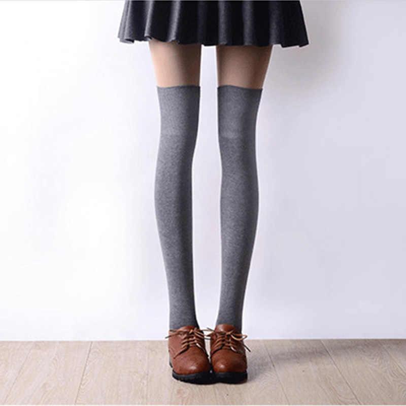 9fa54fa412206 Новинка 2017 года модные высокие носки сексуальные чулки для женщин хлопок  выше колен гольфы Колготки для