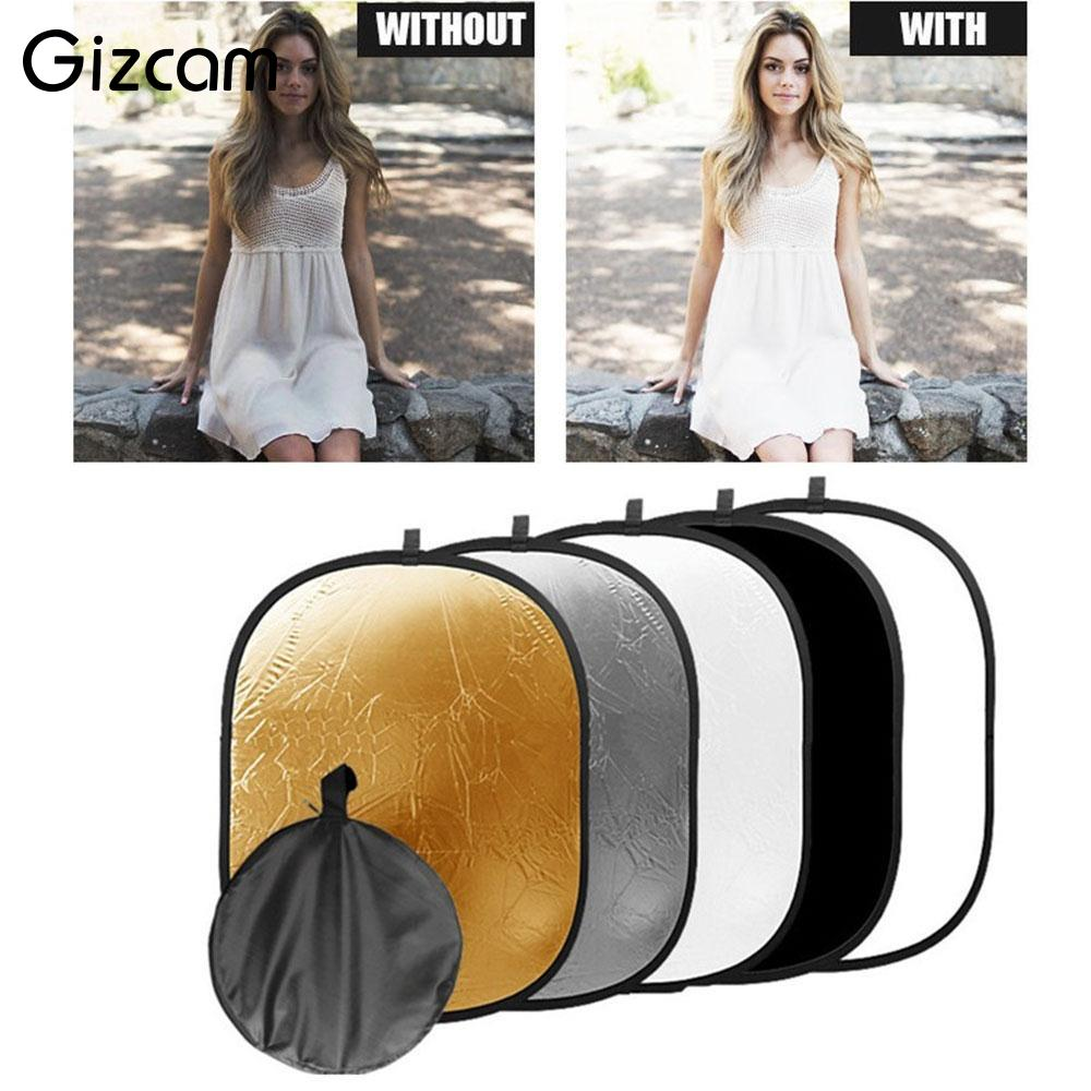 Gizcam New Oval Shape 5 in 1 Photo Studio Collapsible Light Reflector Handheld Professional Background Photograph Accessories сигнализатор поклевки hoxwell new direction k9 r9 5 1