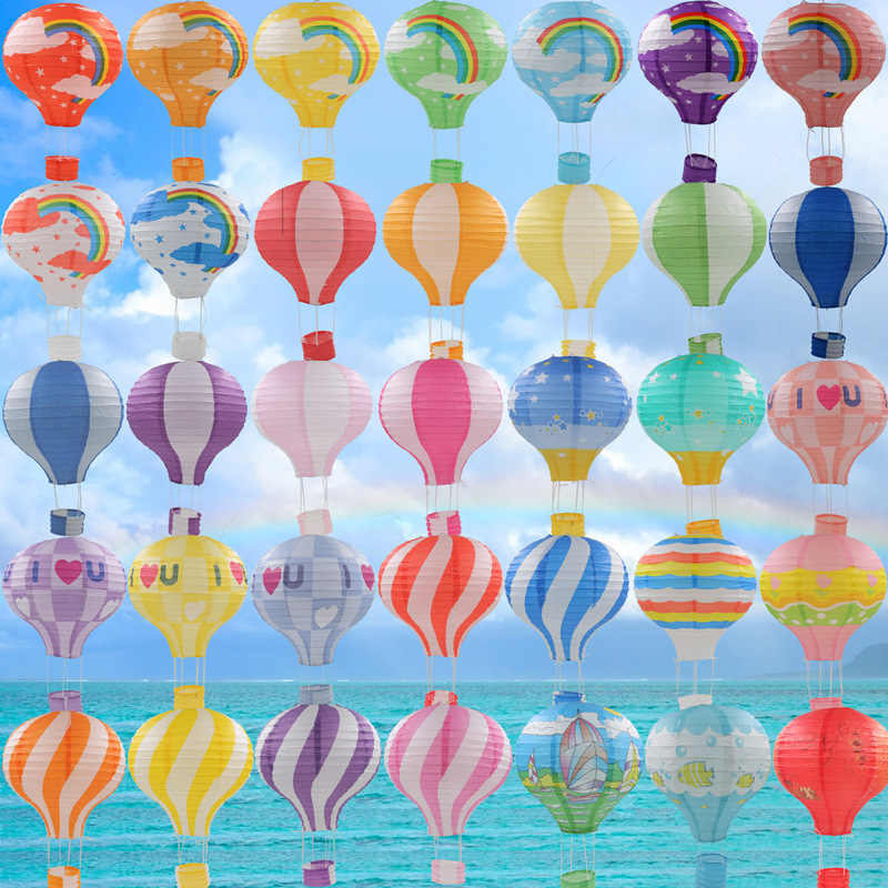 "12''30cm/16""40cm Rainbow Printing Paper Lantern Hot Air Balloon Wedding Decor Children's Bedroom Hanging Birthday Party Decor"