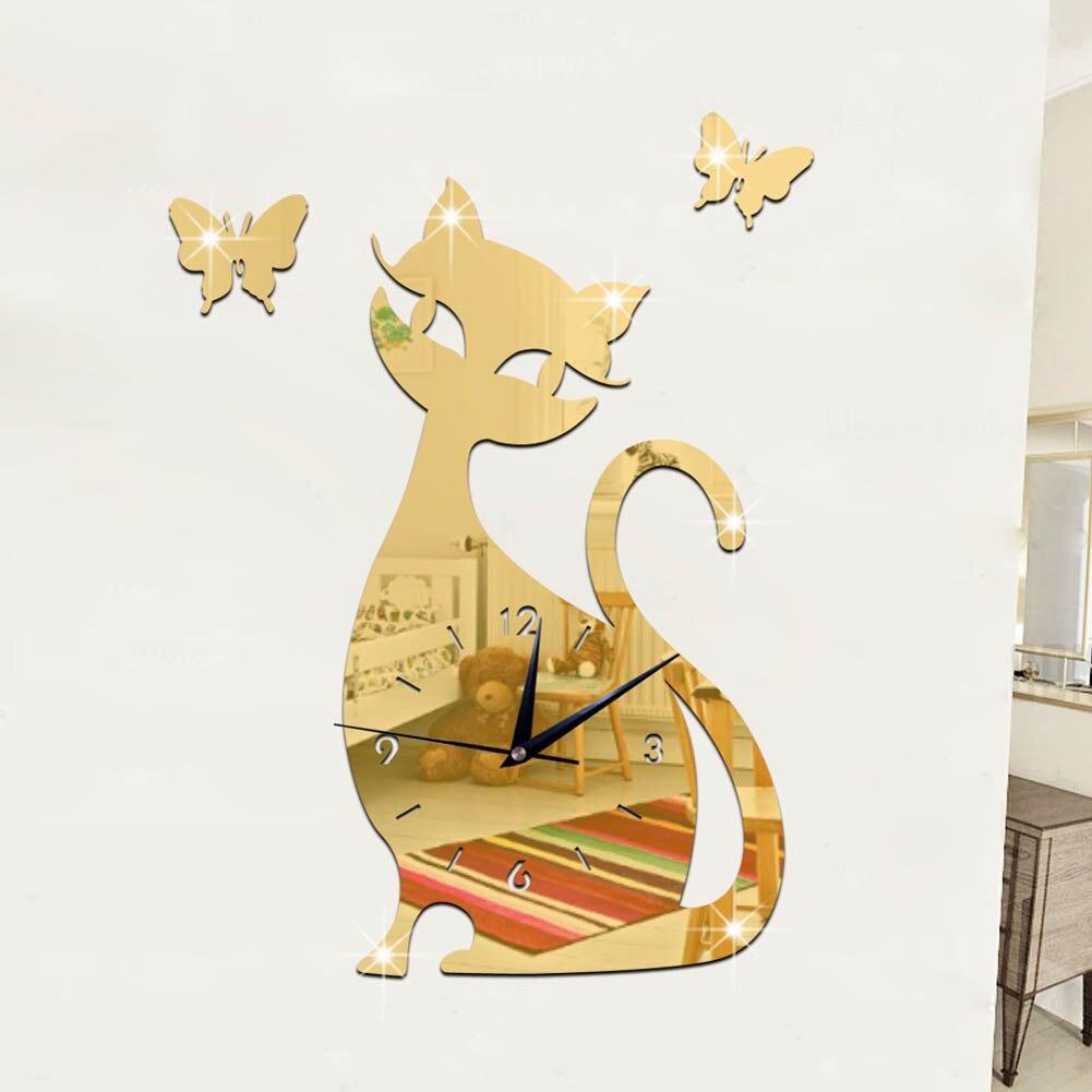 New Arrival Creative Cat Shape Cute Cat Pattern Mirror Wall Clock ...