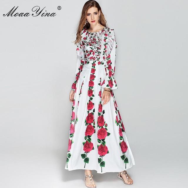 83e86352ff3 MoaaYina Winter Maxi Dress Long Sleeve Women Ruched Rose Floral Print  Elegant Long Dress