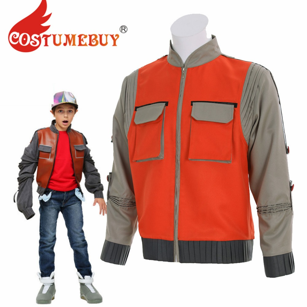 CostumeBuy Movie Back To the Future Marty Mcfly Orange Jacket Cost Costume Adult Cosplay Costume Top L920