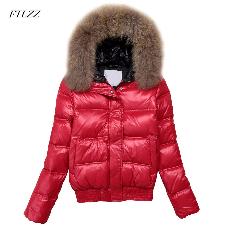 FTLZZ Hooded Real Raccoon Fur Winter Jacket Women Long Sleeve Slim White Duck Down Parkas Coat Female Zipper Pockets Outwear