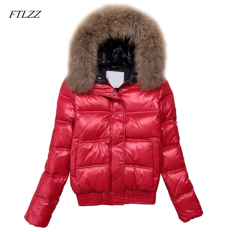 FTLZZ Hooded Real Raccoon Fur Winter Jacket Women Long Sleeve Slim White Duck   Down   Parkas   Coat   Female Zipper Pockets Outwear