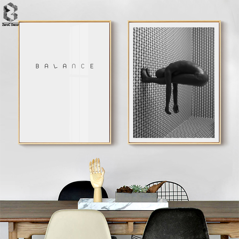 Modern Abstract (BALANCE) Canvas Art Posters And Prints Wall Picture Monochrome Painting Home Decor For Living Room Decoration
