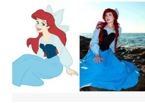 Free shipping The Little Mermaid Ariel Mermaid Princess Beauty Dress +bowknot role-playing party show Halloween Cosplay Costume