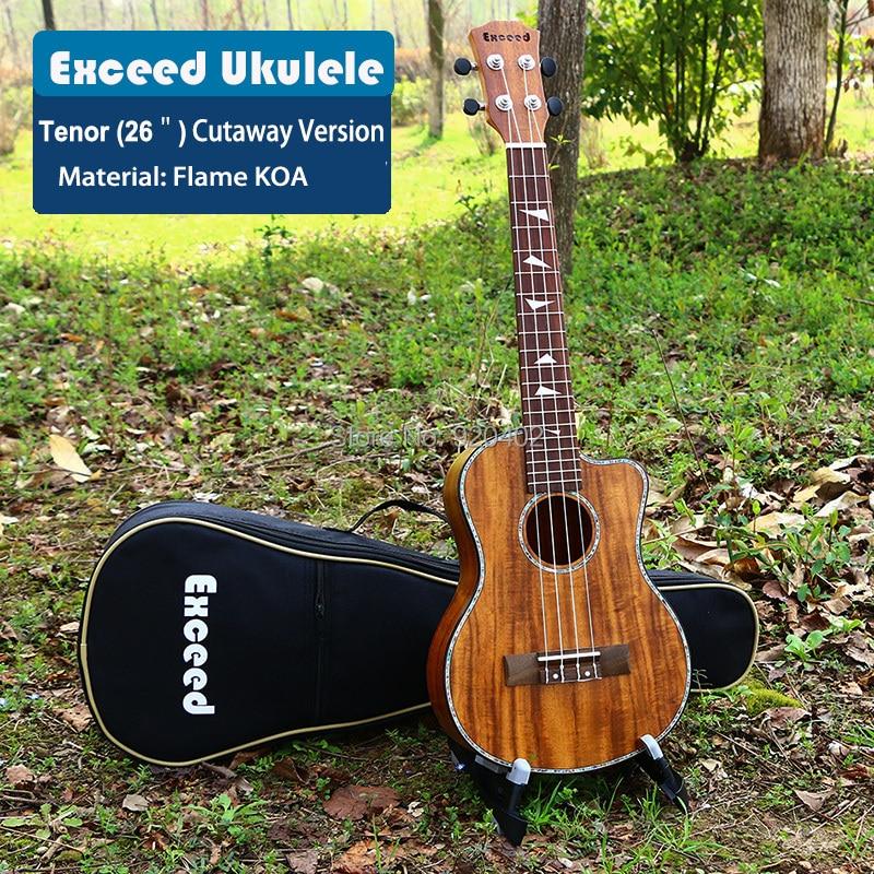 26 pollice Tenor Ukulele suono eccellente Handcraft KOA Mini Chitarra strumento musicale Cutaway Hawaii China guitarra ukulele promozione