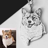 S925 Silver Customize Cat Dog Pet Photo Pendant Carving Jewelry Name Tag Pendant