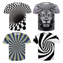 Men/Women 3D T shirt Print Hypnosis/Lion illusion Short Sleeves Unisex Summer Fashion Plus size M-4XL Hot Funny T shirts Tops(China)