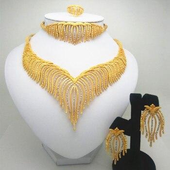 6b6f78466f39 Conjunto de joyas de moda Nigeria Dubai oro color africana de joyería  conjunto de joyería de la boda Africana novia regalos de boda