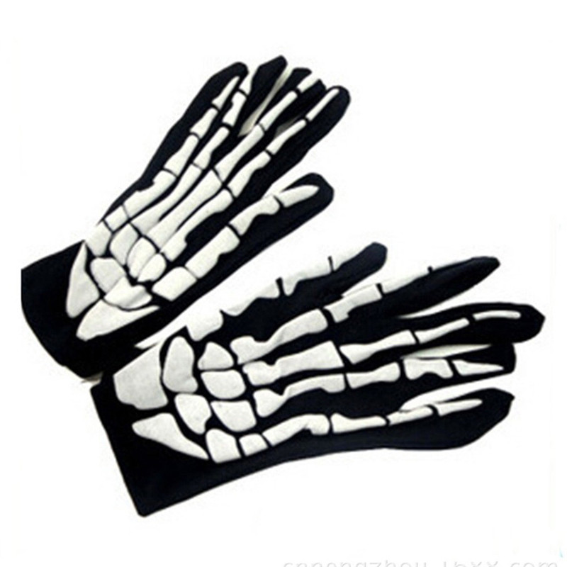 Halloween Horror Skull Claw Bone Skeleton Goth Racing Full Gloves Hand Gloves Guantes Eldiven Handschoenen 40FE18