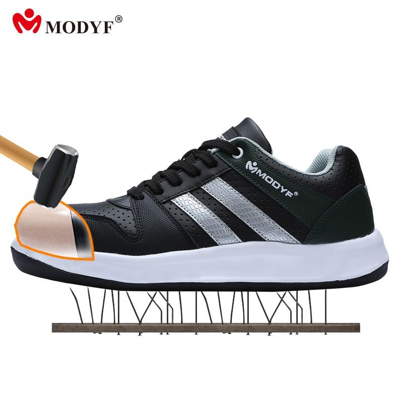 Modyf Men steel toe cap work safety shoes unisex breathable outdoor footwear biker boot puncture proof