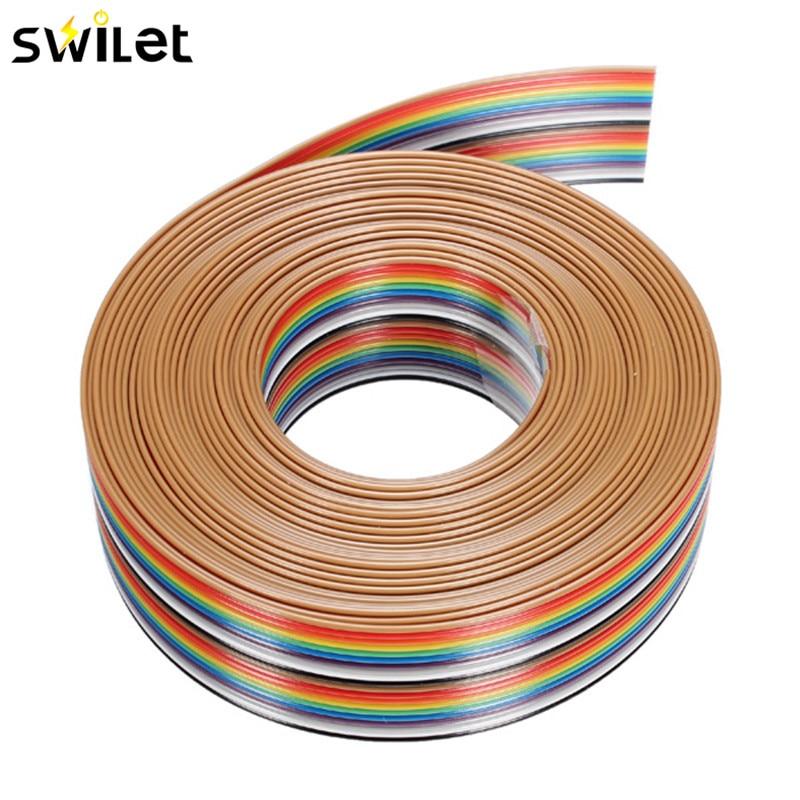 5 M 1,27mm 20 p DuPont Cable Arco Iris línea plana soporte Cable soldado Cable conector Cable