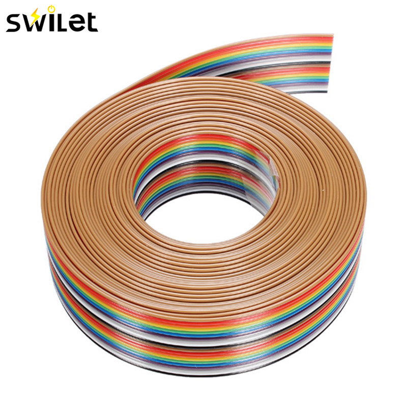 5M 1.27mm 20P DuPont Cable Rainbow Flat Line Support Wire Soldered Cable Connector Wire 5m yaskawa servomotor sgmgh 13aca61 driver sgdm 15ada encoder connecting cable wire